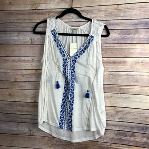 Lucky Brand Embroidered Tank - NEW